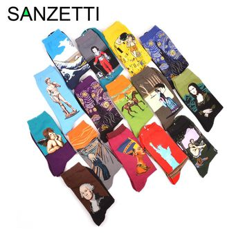 SANZETTI 5 pair Cotton Colorful Van Gogh Retro Oil Painting Men Socks