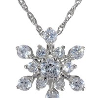 Sterling Silver and Cubic Zirconia Snowflake Pendant Necklace and Earrings Set