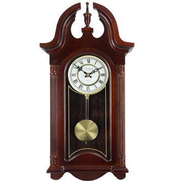 """Bedford Clock Collection 26.5"""" Colonial Mahogany Cherry Oak Finish Chiming Wall Clock with Roman Numerals"""