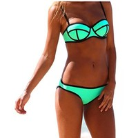 Ebuddy Structured Bright Wet Suit Neoprene Bikini Swimsuit