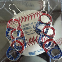 Patriotic, sparkly and FUN soda tab earrings; PERFECT for 4th of July!