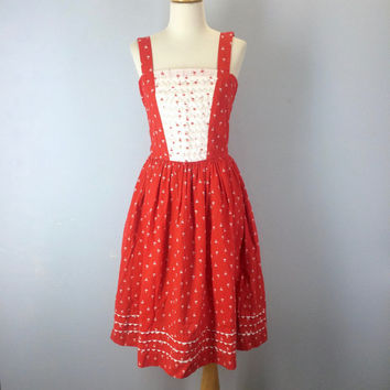 1960s Sundress, Red White Sun Dress, 60s Dress, Vintage Sun Dress, Ric Rac Dress, Vintage Dresses, Summer Dress, 60s Clothing