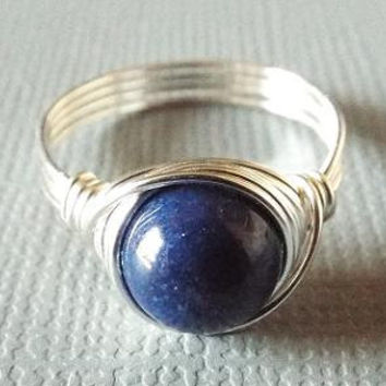 Navy Blue Ring, Blue Jade Ring, Nautical Ring, Jade Jewelry, Wire Wrapped Ring, Valentine's Jewelry, Gift for Sister, Blue Marble Ring