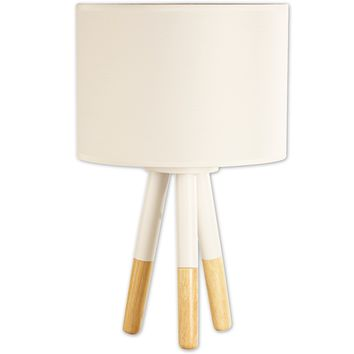 Stockholm Natural Wooden Tripod Table Lamp (White)