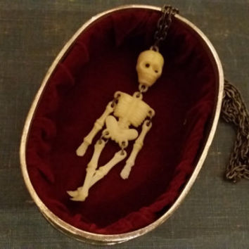 Vintage Celluloid Early Plastic Articulated Skeleton Skull Necklace Perfect for Halloween or Everyday