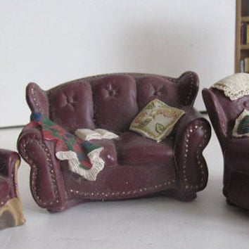 Dollhouse Leather Sofa Miniature Dollhouse Vignette Dollhouse miniature Display Furniture Sofa DollHouse Couch Faux Leather Diorama vignette