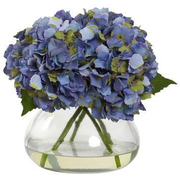 Silk Flowers -Large Blooming Hydrangea With Vase Artificial Plant