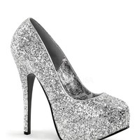 Bordello Silver Glitter Pump Platforms