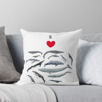 'I love whales!' Throw Pillow by Chloé Yzoard
