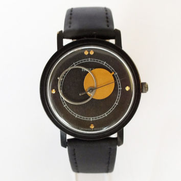 Vintage  mens watch RAKETA COPERNICUS 19 jewels, black dial watch for men, iconic Soviet mens wrist watch