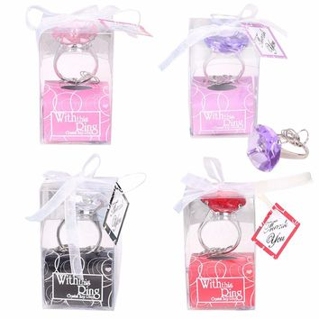 1Pc Diamond Crystal Keychain Wedding Favors And Gifts for Wedding Engagement Crystal Key Ring Christmas Party Gifts
