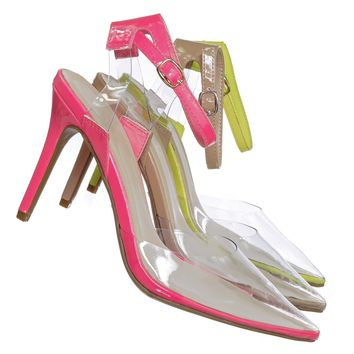 Carnation36 Clear Lucite Pointed Toe Pump - Womens Ankle Strap Cinderella Shoe