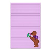 Teddy Bear with Flowers Graphic Lined Stationery