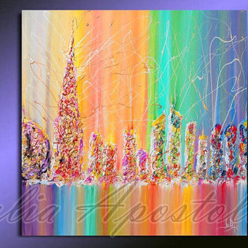 Cityscape painting, Urban, Abstract Painting, Rainbow Art Print, Dubai Skyline, Cityscape Art Print, Rainbow Abstract, UAE, Julia Apostolova