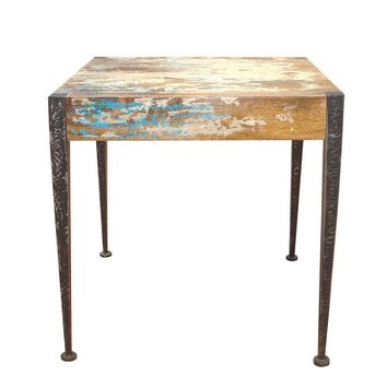 Astoria Rustic Industrial Unfinished Distressed End Table Mango Wood Iron Leg