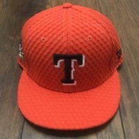 2017 MLB All Star Game Orange New Era Fitted Texas Rangers Hat Baseball 7 1/8