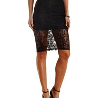 Black Bodycon Lace Midi Skirt by Charlotte Russe