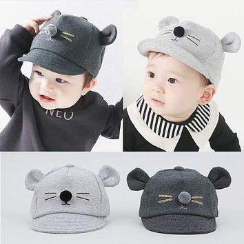 Cartoon Cat Design Baby Hat Baseball Cap Cute Cotton Baby Boys Girls Summer Sun Hat Spring Peaked Cap