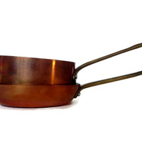 Copper Saute Pan and Small Pot, Vintage Copper Cookware, Frying Pan