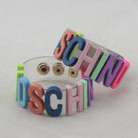 MOSCHINO Fashion Women Personal Metal PCV Transparent Bracelet Hand Bracelet Hand Catenary Colorful