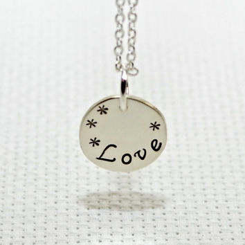 "dainty silver charm necklace handstamped with ""Love"" - Solid 925 NL877"