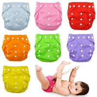 1Pc Candy Color Reusable Baby Infant Nappy Cloth Diapers Soft Covers Washable Adjustable Fraldas = 1958700164