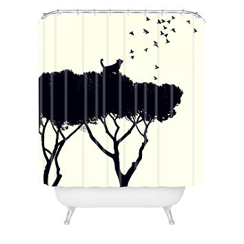 Belle13 Cat and Birds Shower Curtain