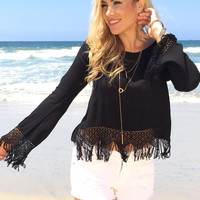 Black Long Sleeve Fringed Chiffon Cropped Top