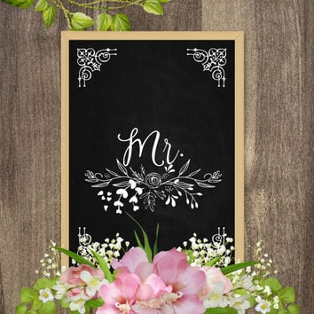 Mr and Mrs wedding signs, Mr and Mrs signs for sweetheart table, Mr and Mrs wedding table sign, Chalkboard wedding sign, Rustic wedding sign