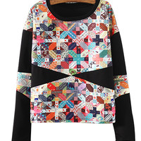 Black Abstract Print Sweater