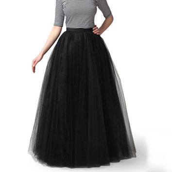2016 Women High Waist Long Skirt Flared Ball Gown Skater Maxi Tutu Tulle Skirts Womens 3 Layers Mesh Pleated Vintage faldas