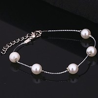 Popular Simulated Pearl Bracelet Adjustable Wire Expandable Bangle Cute Gift For Girl Silver Color Bracelet