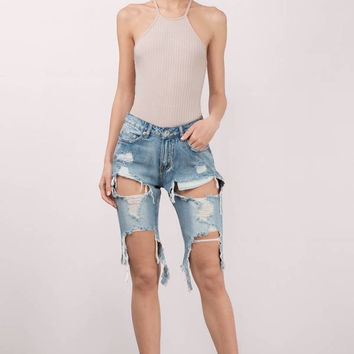 You Already Know Distressed Denim Bermuda Shorts