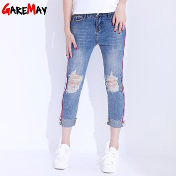Hole Ripped Jeans Pants Women Curling Denim Side Stripe Knee Ripped Jeans Female Straight Ankle Length Pants Jeans
