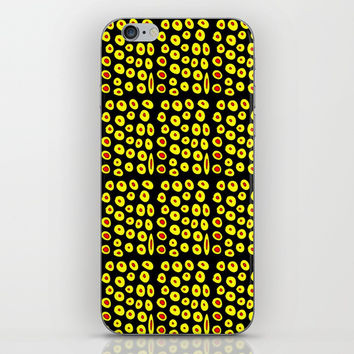 red and yellow polka dot- polka,polka dot,dot,pattern,circle,disc, point,abstract, minimalism iPhone Skin by oldking