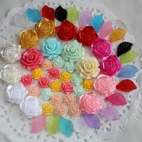 mix lot 56pcs Flower rose cabochon resin leaf jewellery craft pack bead flatback embellishment decoration acrylic resin