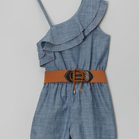 Chambray Country Sunset Romper & Belt - Girls | zulily