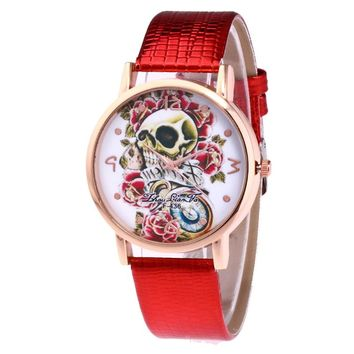 Skull Gold Alloy Dial Red Leather Strap Men's Sports Quartz Watch