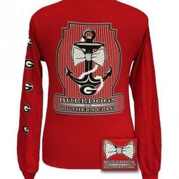 ONETOW New Georgia Bulldogs Southern Class Anchor Prep Bow Long Sleeve T Shirt Day-First?