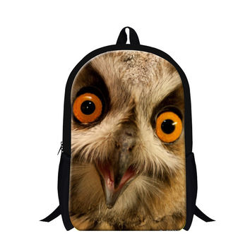 Personalized owl 3D pattern backpacks for children,kids cool book bags,day back pack for elementary students,mens travel bags