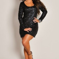 Sexy Black Dazzling Long-Sleeve Sequin Party Dress