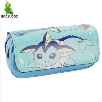 Vaporeon Umbreon Cosmetic Bag Double Zipper Pencil Holder Large Capacity Stationery Bags Kids School SuppliesKawaii Pokemon go  AT_89_9