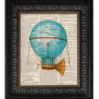 HOT AIR BALLOON 2 Steampunk Art, Dirigible, Airship Art Print, dictionary art print, nursery decor, wall decor
