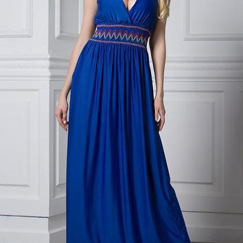 Blue Patchwork Pleated Plunging Neckline Sleeveless Plus Size Maxi Dress