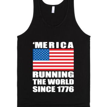 'merica running the world since 1776-Unisex Black Tank