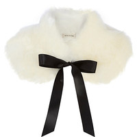 River Island Womens Cream faux fur collar