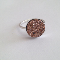 Dazzling Rose Gold Druzy Quartz Cabochon Sterling Silver Bezel RIng