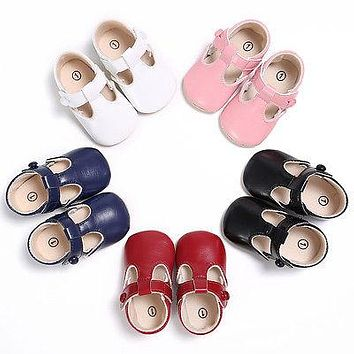 First Walkers Newborn-18M Baby Toddler Girl Leather Soft Sole Crib Shoes Christening Pre-walker