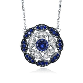 Merthus Antique Vintage Cluster Blue Sapphire Statement Necklace 925 Sterling Silver
