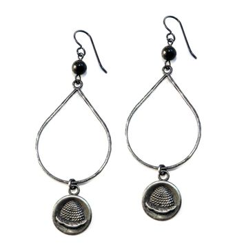 BEEHIVE Large Teardrop Antique Button Earrings - SILVER w/ gemstone